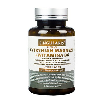 Singularis Cytrynian Magnezu + Witamina B6, tabletki powlekane, 60 szt.