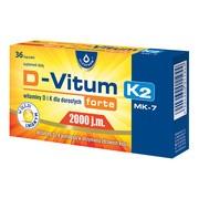 D-Vitum Forte 2000 j.m. K2 MK-7, witaminy D i K dla dorosłych, kapsułki, 36 szt.