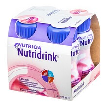Nutridrink, smak truskawkowy, płyn, 4 x 125 ml