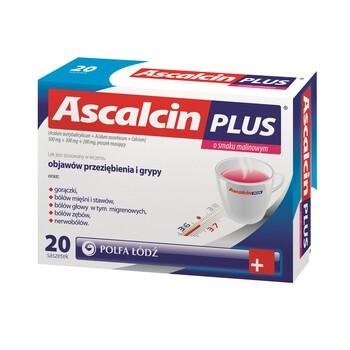 Ascalcin Plus o smaku malinowym, proszek musujący w saszetkach, 20 szt.