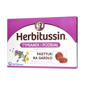 Herbitussin Tymianek i Podbiał, pastylki do ssania, 12 szt.