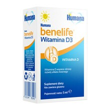 Humana benelife Witamina D3, płyn, 5 ml