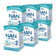 Zestaw 6x Nestle Nan Optipro 2, mleko następne dla niemowląt po 6 miesiącu, 800 g