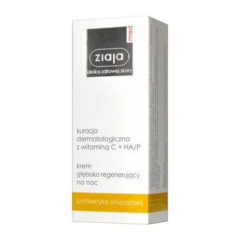 Ziaja Med Kuracja Dermatologiczna, z witaminą C + HA/P, krem głęboko regenerujący na noc, 50 ml