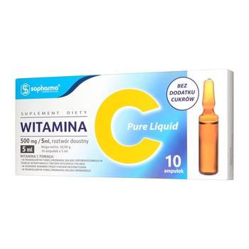 Witamina C Pure Liquid 500 mg/5 ml, roztwór doustny w ampułkach, 10 szt.