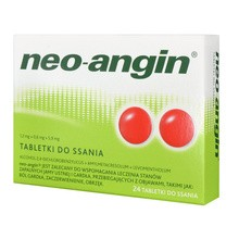 Neo-Angin, 1,2 mg+0,6 mg+5,9 mg, tabletki do ssania, 24 szt.