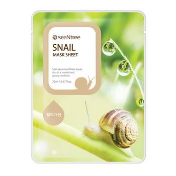 SeaNTree Snail Mask Sheet, maseczka na bawełnianej płachcie z ekstraktem ze śluzu ślimaka, 20 ml