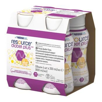 Resource Diabet Plus, dieta kompletna w płynie, smak waniliowy, 4 x 200 ml