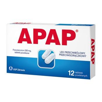 Apap, 500 mg, tabletki powlekane, 12 szt.