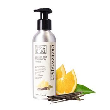Fresh&Natural, orzeźwiający olejek do ciała z pomarańczą i wanilią, 150 ml