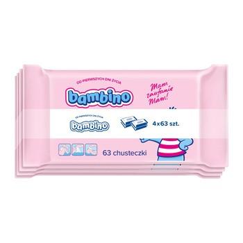 Bambino, chusteczki nawilżające dla niemowląt od 1-go dnia, 4 x 63 szt.