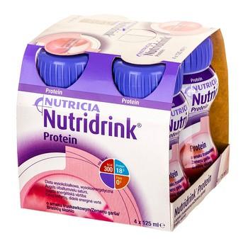 Nutridrink Protein, płyn o smaku truskawkowym, 4 x 125 ml