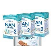 Zestaw 3x Nan Optipro 2 + 1x chusteczki WaterWipes