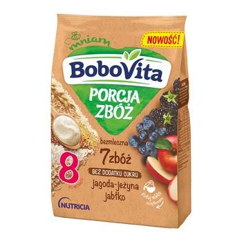 BoboVita Porcja Zbóż kaszka bezmleczna-7zbóż, jagoda, jeżyna, jabłko, 8 m+, 170 g