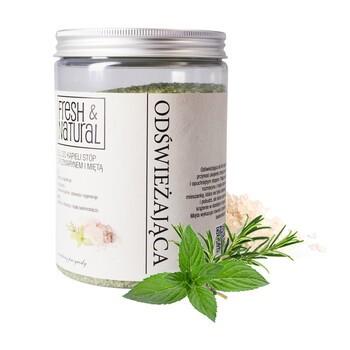 Fresh&Natural, odświeżająca sól do kąpieli stóp, z rozmarynem i miętą, 1000 g