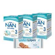 Zestaw 3x Nan Optipro 3 Junior + 1x chusteczki WaterWipes