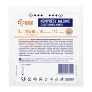 DOZ PRODUCT, kompresy jałowe z gazy bawełnianej, 17 nitkowe, 8 warstwowe, 10x10 cm, 3 szt.