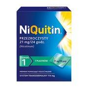 Niquitin przezroczysty, 21 mg/24 h, system transdermalny 114 mg, stopień 1, plastry, 7 szt.
