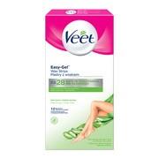 Veet Easy-Gel, plastry z woskiem, skóra sucha, 12 szt.