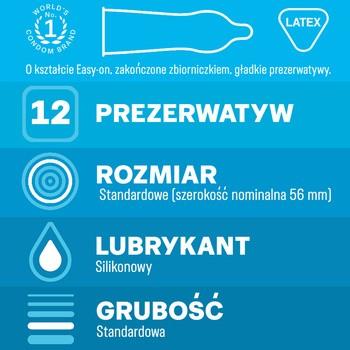 Durex, Classic, prezerwatywy ze środkiem nawilżającym, 12 szt.