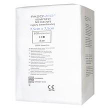 Kompresy gazowe, niejałowe, 13-nitkowe, 8-warstwowe, 7,5 x 7,5 cm, 100 szt. (Pasomed)