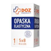 DOZ PRODUCT Opaska elastyczna tkana z zapinką, 5 m x 8 cm, 1 szt.