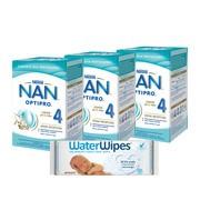 Zestaw 3x Nan Optipro 4 Junior + 1x chusteczki WaterWipes