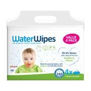 WaterWipes Kids, chusteczki nasączane czystą wodą, Soapberry z dodatkiem wyciągu z orzechów mydlanych, 4 x 60 szt.