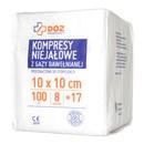 DOZ PRODUCT Kompresy niejałowe z gazy bawełnianej, 17 nitkowe, 8 warstwowe, 10 x 10 cm, 100 szt.
