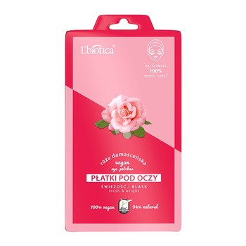 L`Biotica, płatki pod oczy Vegan róża damasceńska, 2 szt