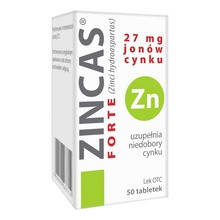 Zincas forte, 27 mg jonów cynku, tabletki, 50 szt.