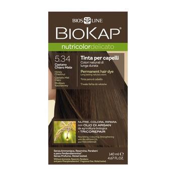 Biokap Nutricolor Delicato, farba do włosów, 5.34 miodowo kasztanowy, 140 ml