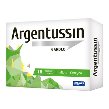 Argentussin Gardło, pastylki do ssania, smak mięta-cytryna, 16 szt.