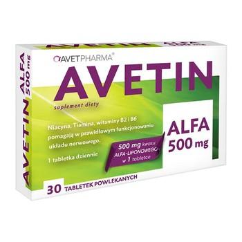 Avetin Alfa 500 mg, tabletki powlekane, 30 szt.