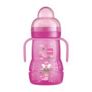 MAM Trainer, butelka treningowa z ustnikiem, 4 m+, różowa, 220 ml