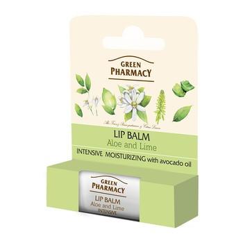 Green Pharmacy, balsam do ust, intensywnie nawilżający, aloes i limonka, SPF 10, 3,6 g