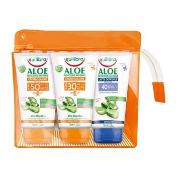 Zestaw Promocyjny Equlibra Aloe, krem SPF 30, 75 ml + krem SPF 50+, 75 ml + mleczko po opalaniu 40% Aloesu, 75 ml