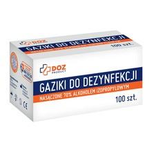 DOZ Product gaziki do dezynfekcji nasączone alkoholem izopropylowym, 100 szt.
