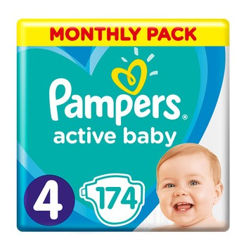Pampers Active Baby 4, (9-14 kg), 174 szt.