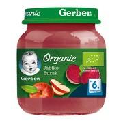 Gerber Organic, przecier jabłko burak, 6 m+, 125 g