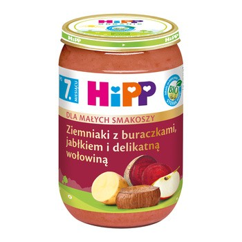 HiPP BIO ziemniaki z buraczkami, jabłkiem i delikatną wołowiną, po 7. miesiącu, 220 g