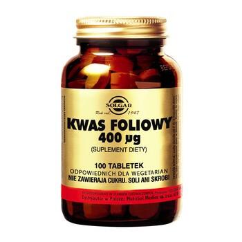 Solgar Kwas foliowy, tabletki, 100 szt.