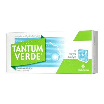 Tantum Verde smak eukaliptusowy, 3 mg, pastylki twarde, 20 szt.