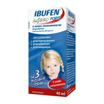 Ibufen forte dla dzieci o smaku truskawkowym, 200 mg/5 ml, zawiesina doustna, 40 ml