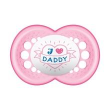 MAM Silk Teat, smoczek uspokajający silikonowy, Love & Affection, Daddy, (6 m+), girl, 1 szt.