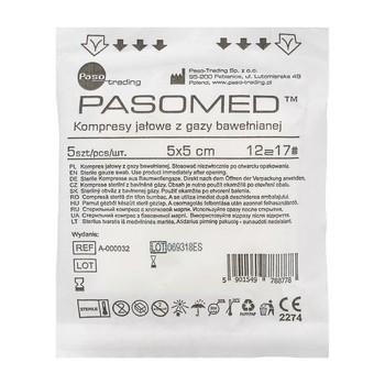 Kompresy gazowe, jałowe, 17 nitkowe, 12 warstwowe, 5 x 5 cm, 5 szt. (Pasomed)