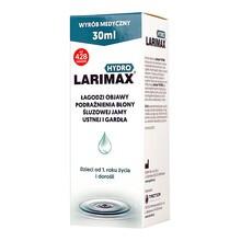Larimax Hydro, spray, łagodzi objawy podrażnienia błony śluzowej jamy ustnej i gardła, 30 ml