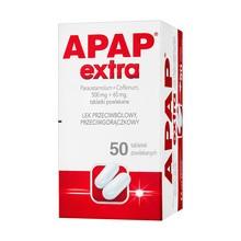 Apap Extra, 500 mg + 65 mg, tabletki powlekane, 50 szt. (butelka)