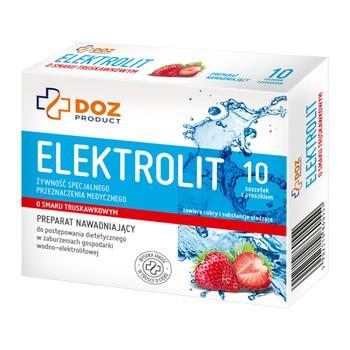 DOZ PRODUCT Elektrolit o smaku truskawkowym, proszek, 4,2 g x 10 saszetek
