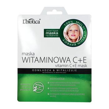 L`Biotica Maska Witaminowa C+E, na tkaninie, 23 ml